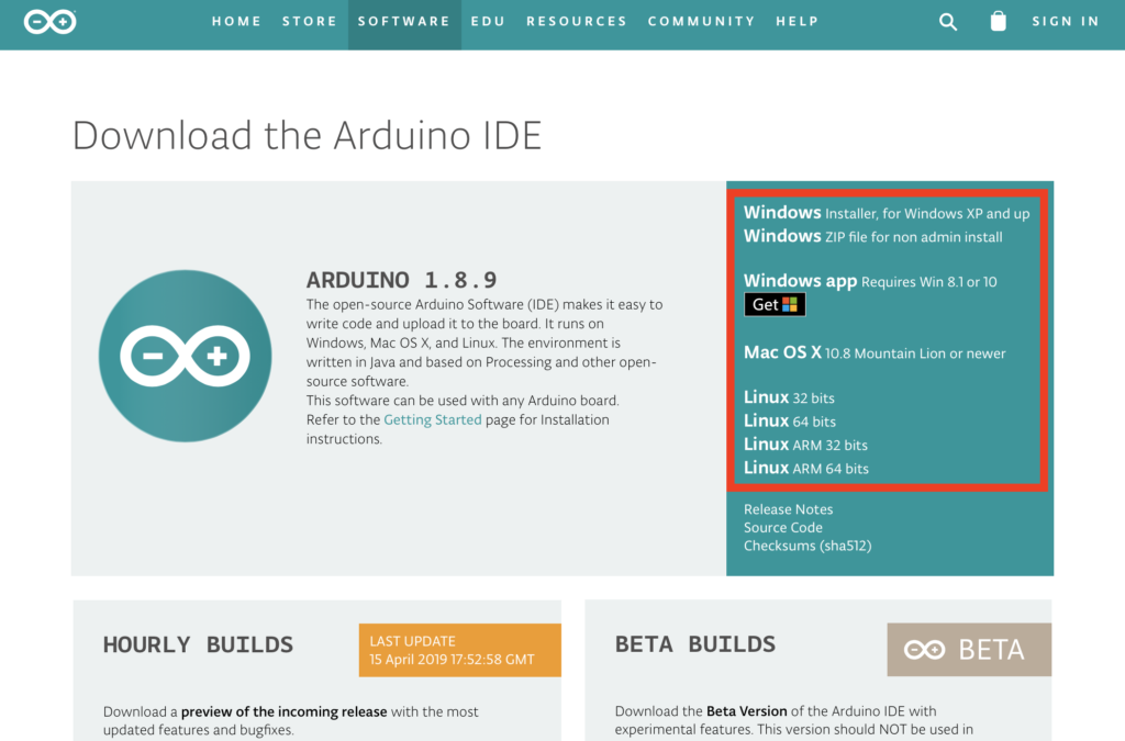 Arduino version 1.8.9 download